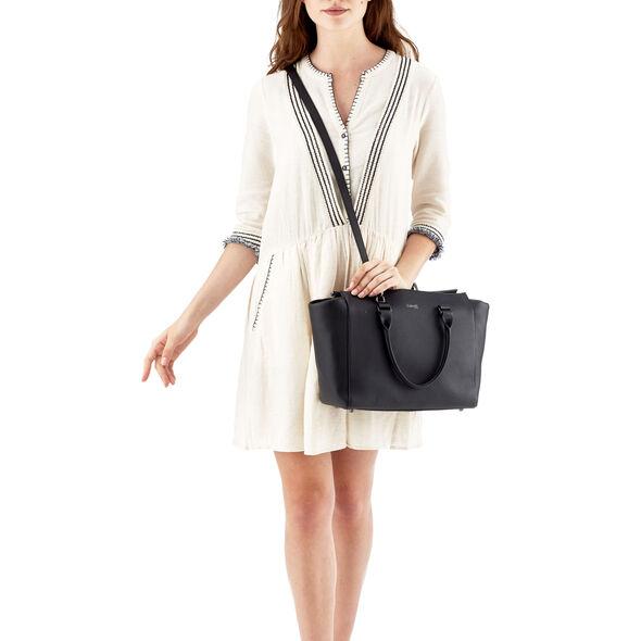 Lipault Plume Elegance Satchel Bag M in the color Black Leather.