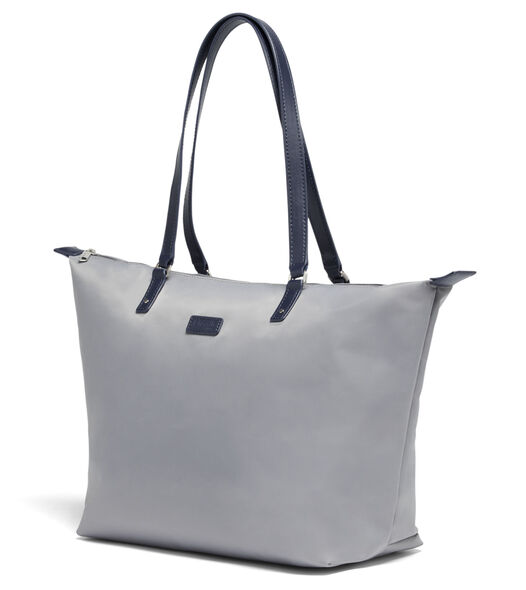 Lipault Lady Plume FL Tote Bag M in the color Pearl Grey/Navy.
