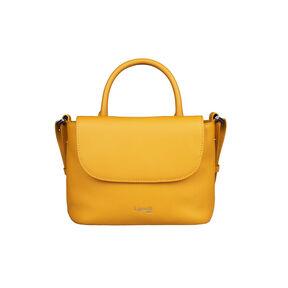 Lipault Plume Elegance Mini Handle Bag in the color Mustard Leather.