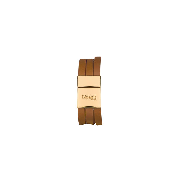 Lipault Plume Elegance Clasp Bracelet in the color Cognac Leather.