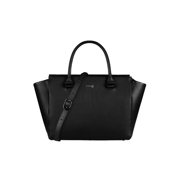 Lipault Plume Elegance Satchel Bag M in the color Black Leather.