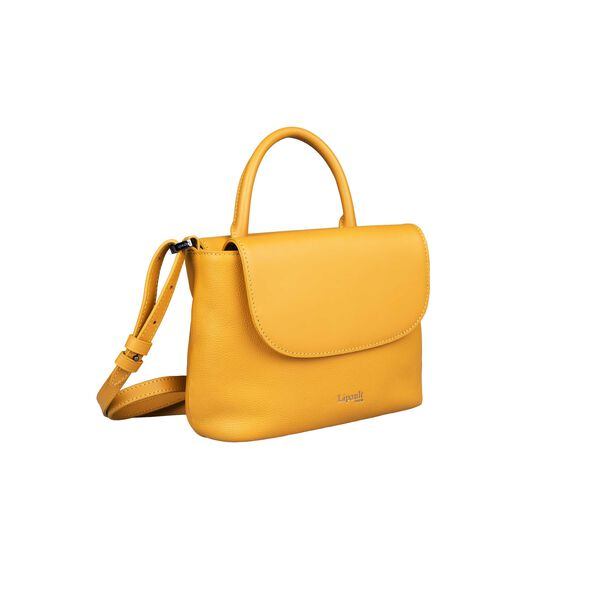 Lipault Plume Elegance Mini Handle Bag in the color Mustard Leather.
