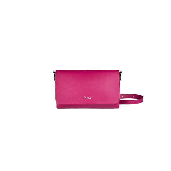 Lipault Plume Elegance Clutch Bag M in the color Tahiti Pink Leather.