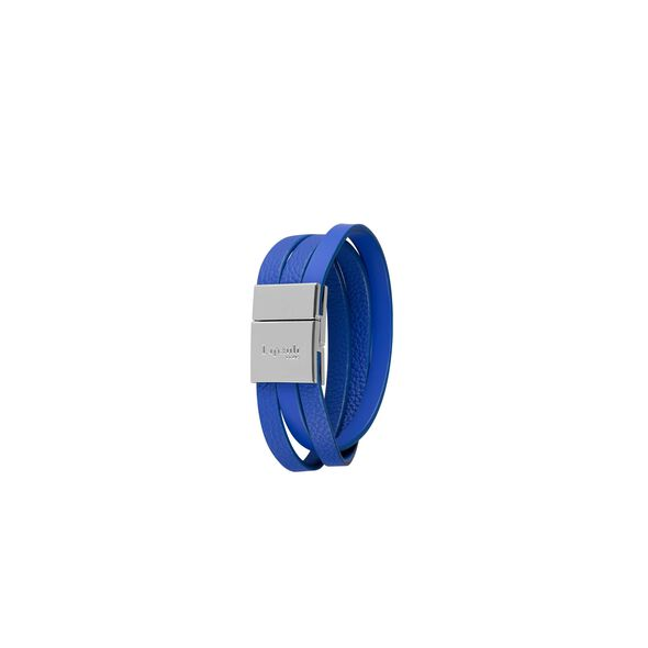 Lipault Plume Elegance Clasp Bracelet in the color Exotic Blue Leather.