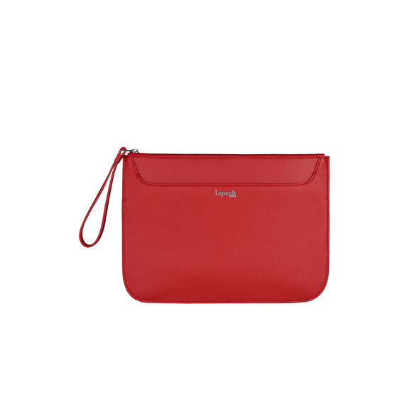 Lipault Plume Elegance Clutch in the color Ruby Leather.