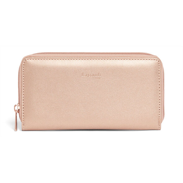 Lipault Miss Plume Zip Around Wallet in the color Pink Gold.