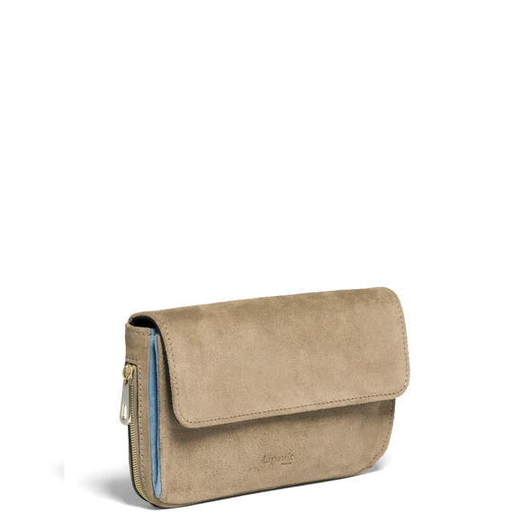 Lipault Rendez-Vous Suede Wallet in the color Dark Taupe/Icy Blue.
