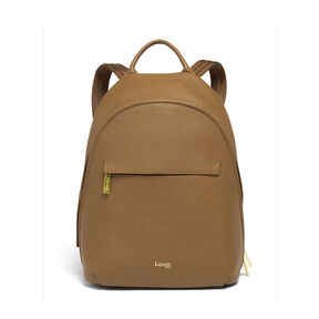 Lipault Plume Elegance Round Backpack in the color Cognac Leather.