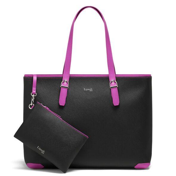 Lipault Variation Shopper in the color Black/Sweet Fuchsia.