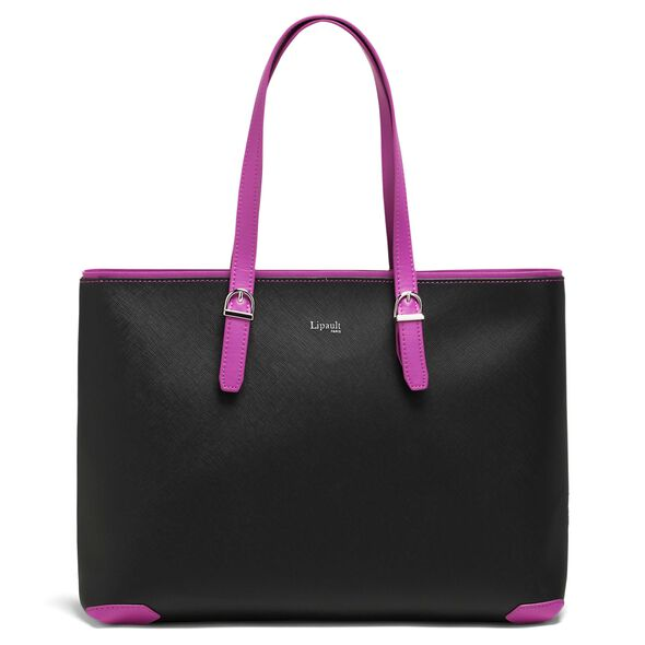 Lipault Variation Shopper in the color Black/Sweet Fuchsia.