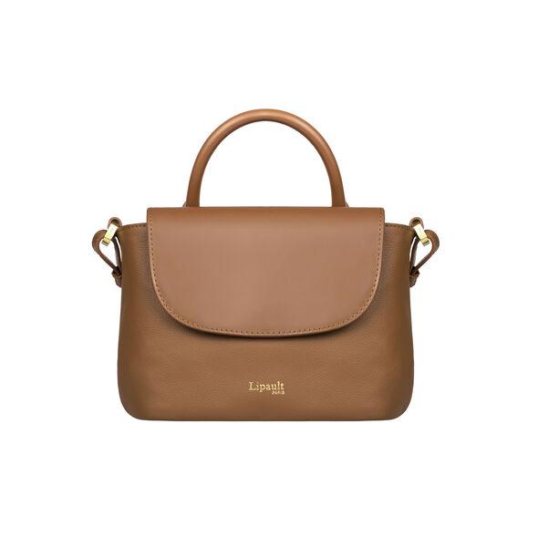 Lipault Plume Elegance Mini Handle Bag in the color Cognac Leather.
