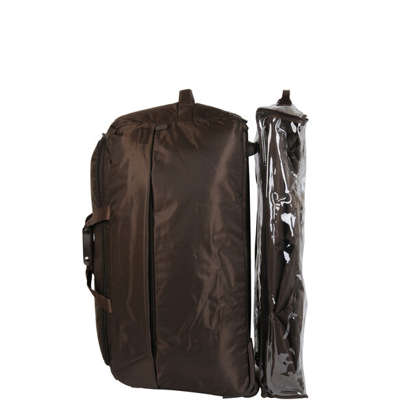 """Lipault 0% Pliable 30"""" Wheeled Duffel in the color Chocolate."""
