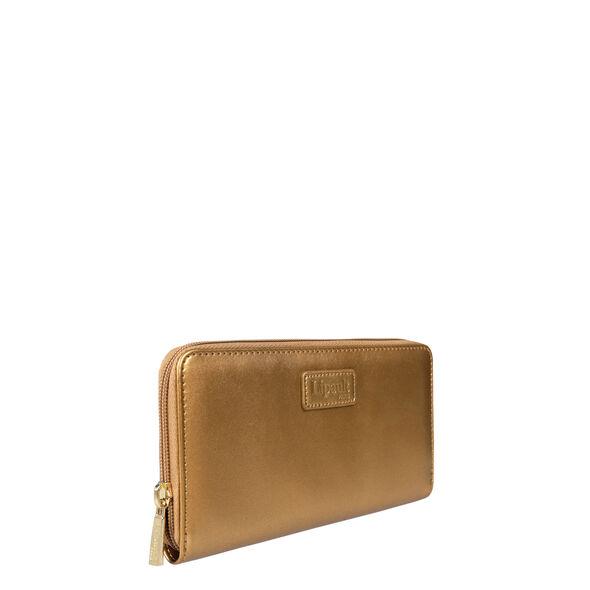 Lipault Miss Plume Zip Around Wallet in the color Dark Gold.