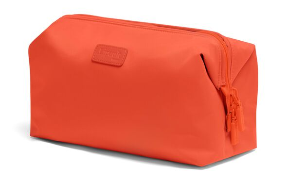 """Lipault Plume Accessories 12"""" Toiletry Kit in the color Flash Coral."""