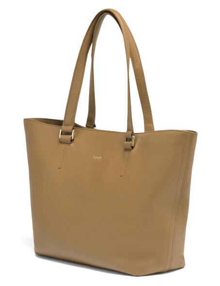Lipault Invitation Leather Tote Bag in the color Caramel.