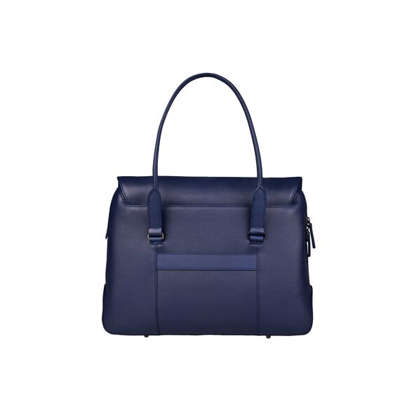 Lipault Plume Elegance Laptop Tote Bag in the color Navy Leather.