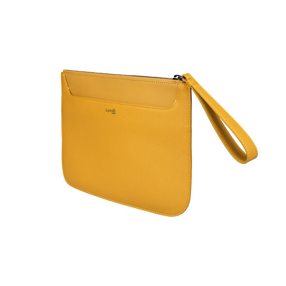Lipault Plume Elegance Clutch in the color Mustard Leather.