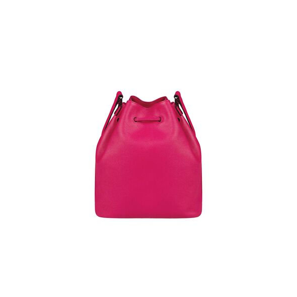 Lipault Plume Elegance Bucket Bag M in the color Tahiti Pink Leather.