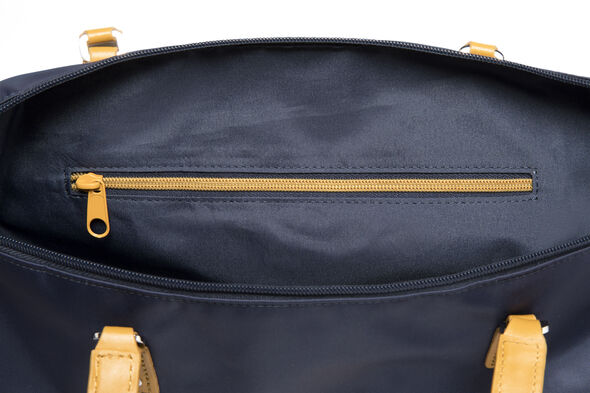 Lipault Lady Plume FL Tote Bag M in the color Navy/Mustard.