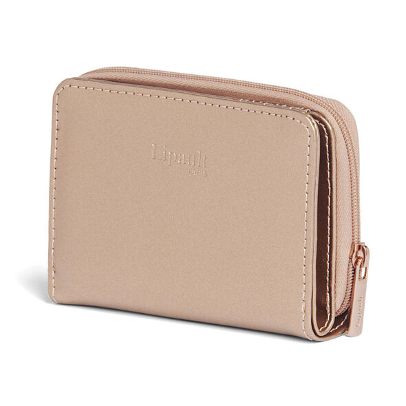 Lipault Miss Plume Compact Wallet in the color Pink Gold.