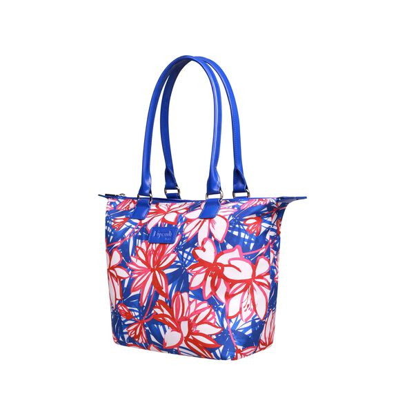 Lipault Blooming Summer Tote Bag M in the color Flower/Pink/Blue.