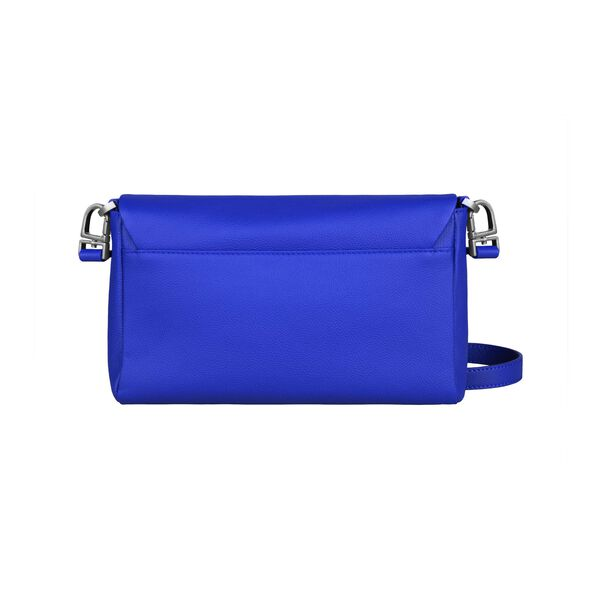 Lipault Plume Elegance Clutch Bag M in the color Exotic Blue Leather.