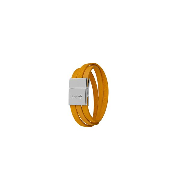 Lipault Plume Elegance Clasp Bracelet in the color Mustard Leather.