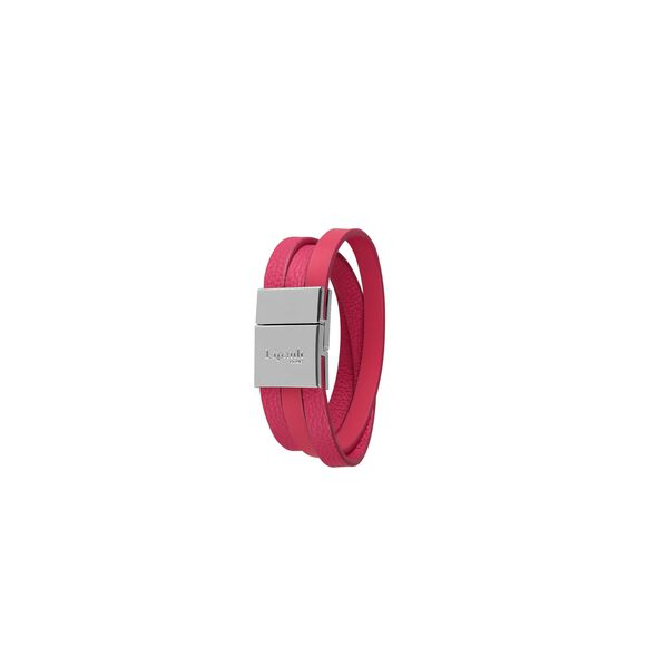 Lipault Plume Elegance Clasp Bracelet in the color Tahiti Pink Leather.