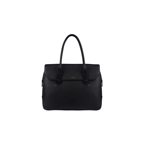 Lipault Plume Elegance Laptop Tote Bag in the color Black Leather.