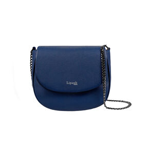 Lipault Plume Elegance Saddle Bag in the color Navy Leather.