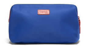 """Lipault Plume Accessories 12"""" Toiletry Kit in the color Electric Blue/Flash Coral."""