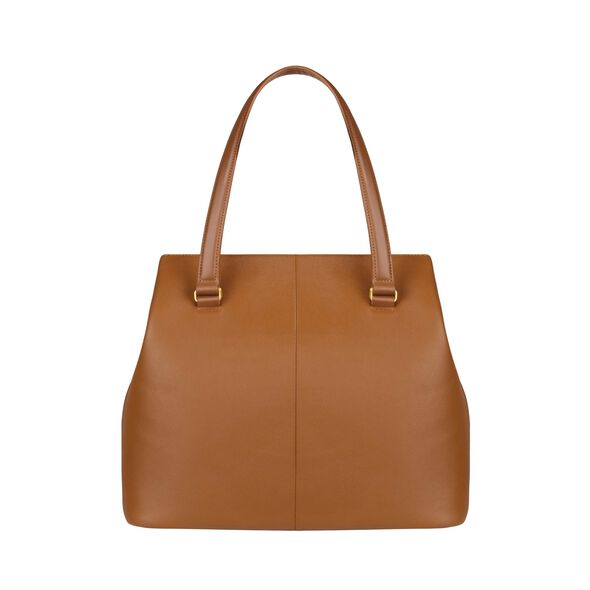 Lipault Plume Elegance Large Tote Bag in the color Cognac Leather.