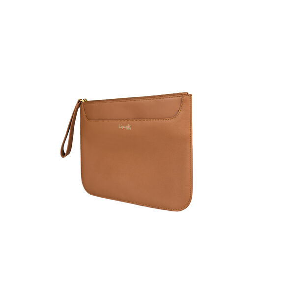 Lipault Plume Elegance Clutch in the color Cognac Leather.