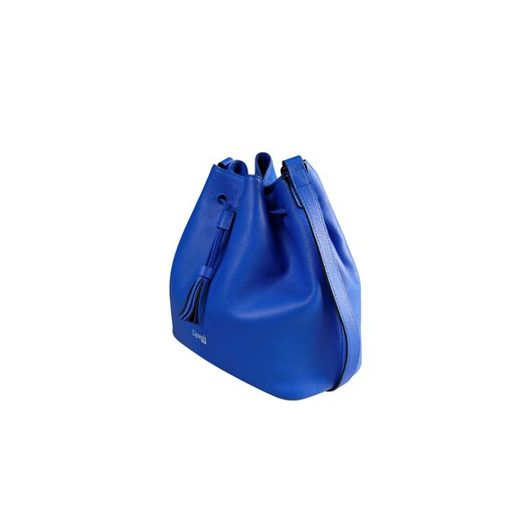 Lipault Plume Elegance Bucket Bag M in the color Exotic Blue Leather.