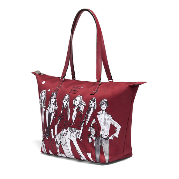 Lipault Izak Zenou Tote Bag M in the color Pose/Garnet Red.