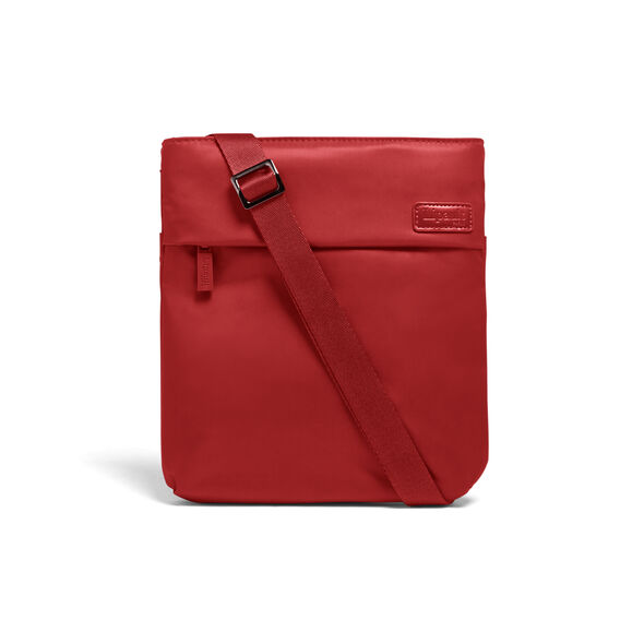 Lipault City Plume Crossover Bag M in the color Cherry Red.