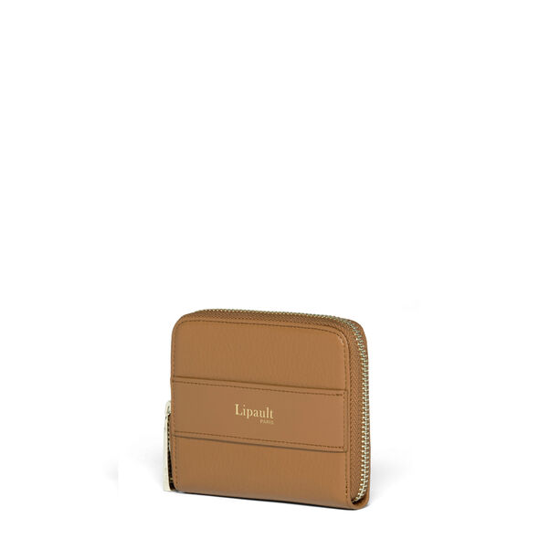 Lipault Invitation Compact Zip Around Wallet in the color Caramel.