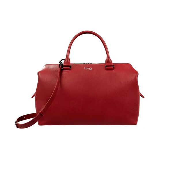 Lipault Plume Elegance Bowling Bag M in the color Ruby Leather.