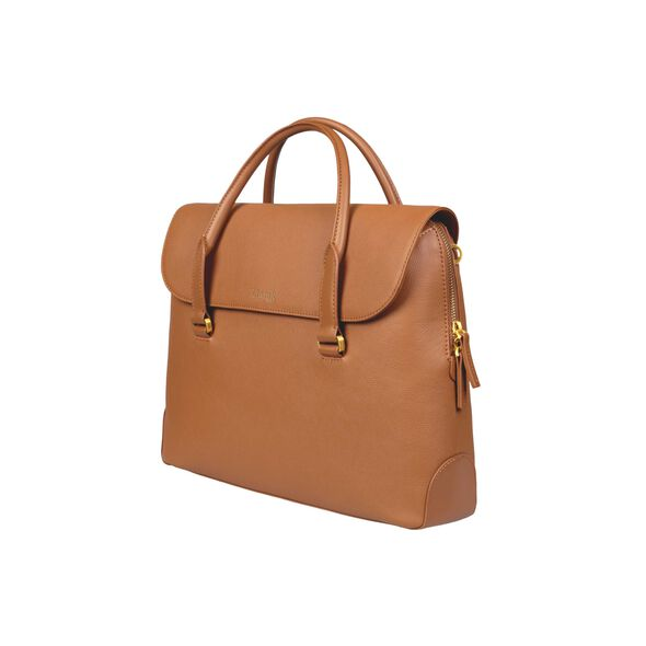 Lipault Plume Elegance Laptop Bailhandle in the color Cognac Leather.