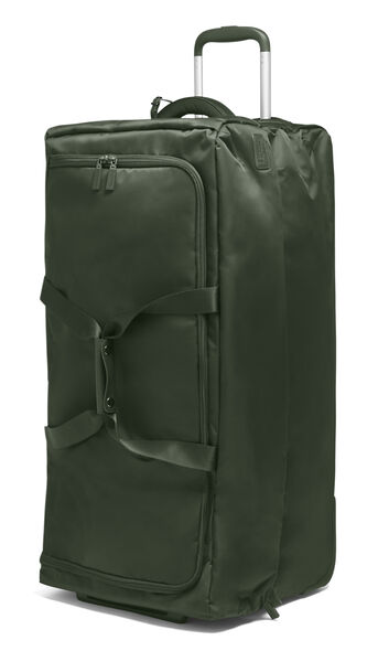 """Lipault 0% Pliable 30"""" Wheeled Duffel in the color Khaki Green."""