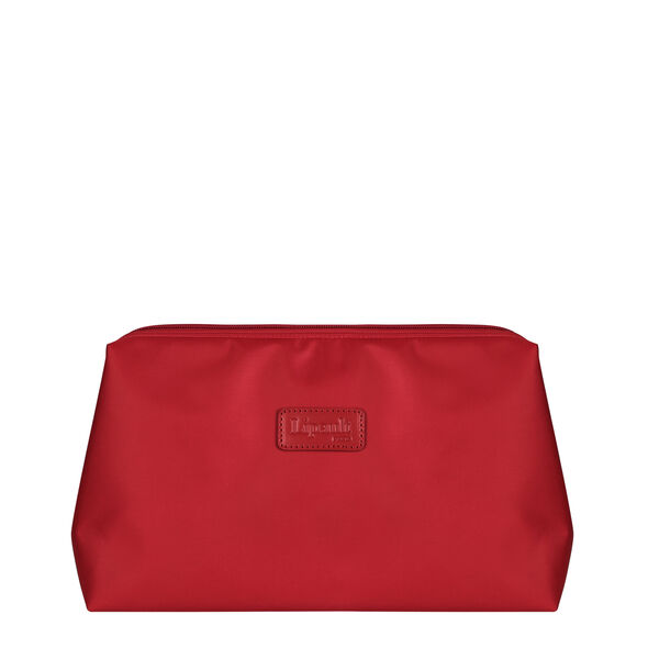 """Lipault Plume Accessories 12"""" Toiletry Kit in the color Cherry Red."""