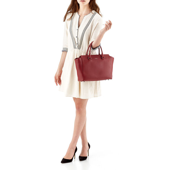 Lipault Plume Elegance Satchel Bag M in the color Ruby Leather.