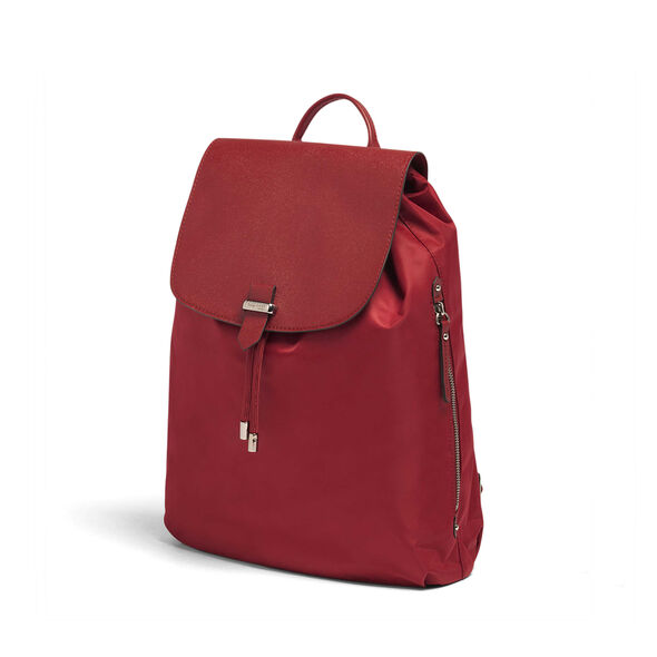 """Lipault Plume Avenue 15"""" Laptop Backpack in the color Garnet Red."""
