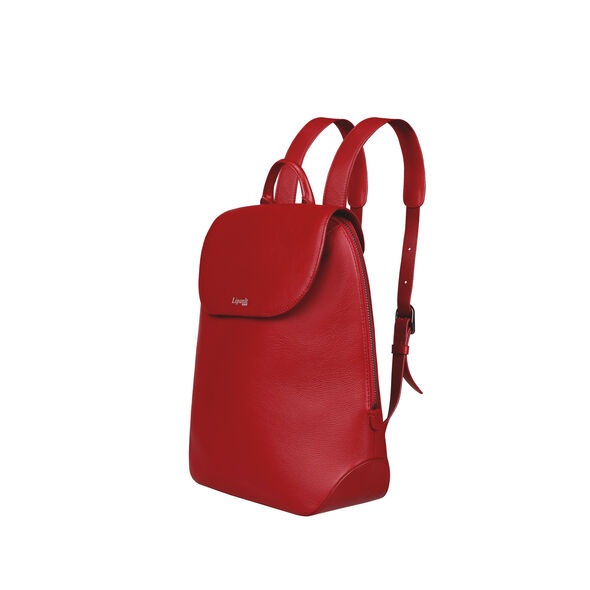 Lipault Plume Elegance Backpack S in the color Ruby Leather.