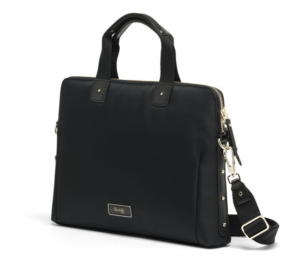 Lipault Business Avenue Slim Laptop Bag in the color Jet Black.