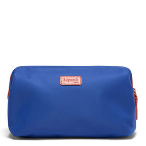 "Lipault Plume Accessories 12"" Toiletry Kit in the color Electric Blue/Flash Coral."