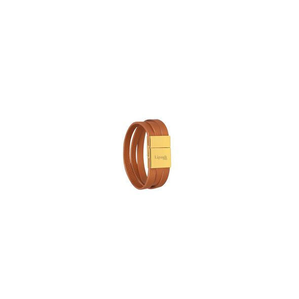 Lipault Plume Elegance Clasp Bracelet in the color Cognac Leather.