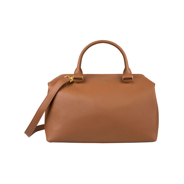 Lipault Plume Elegance Bowling Bag M in the color Cognac Leather.