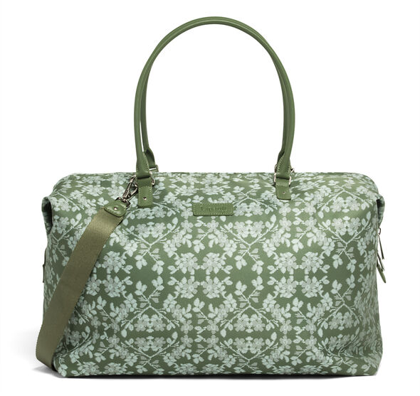 Lipault Fall For You Weekend Bag M 2.0 in the color Kaki/Aquagreen/Flowers.