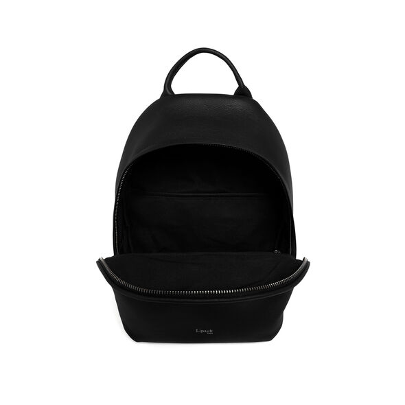 Lipault Plume Elegance Round Backpack in the color Black Leather.